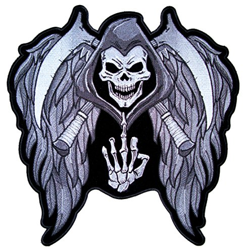 Skull With Wings (Leather Supreme Reaper Skull and Cross Scythes Wings Middle Finger Up Patch)