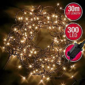 300 LED String Fairy Lights – Warm White – with 8 Different Modes ; Suitable for Outdoor/Indoor Use, Christmas, Party Decorations Etc