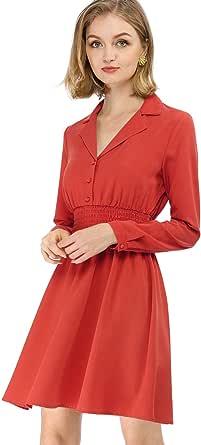 Allegra K Women's Notched Lapel Buttons Stretchy Smocked Waist Vintage A-Line Dress