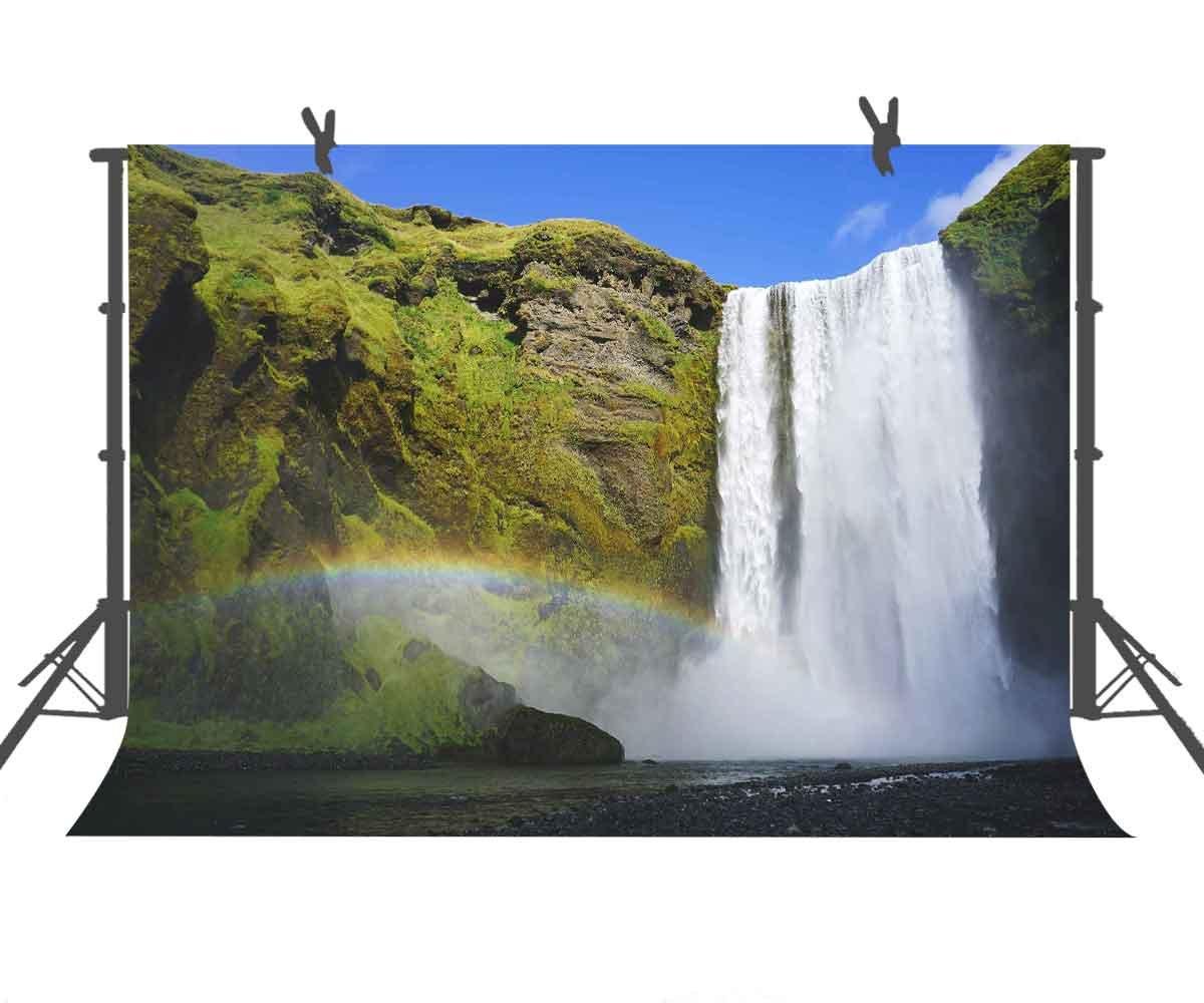 ST 9 X 6フィート グリーン 山と白の滝 写真撮影用背景幕 写真ブーススクリーン背景またはユース用背景小道具 ST960295   B07CM32TW8