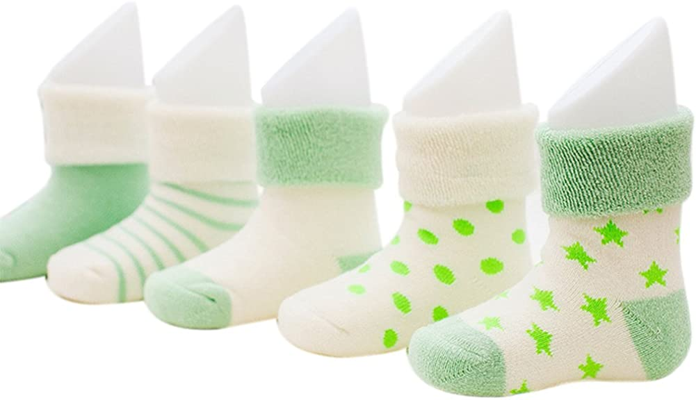 VWU Unisex Baby Boy Girls Thick Cuff Cotton Socks 5 Pack 6 Color