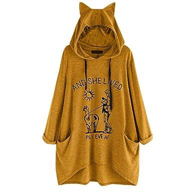 Wekdeg - Blusa con Capucha para Mujer, diseño de Orejas de Gato ...