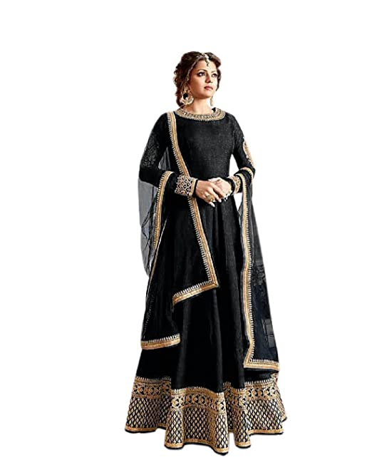 1578043b8 Active Feel Free Life Women s Banglori Silk Semi-Stitched Anarkali Salwar  Suit (SSVI2182BL-