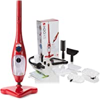 H2O Mop X5 5 in 1 Portable Steam Mop Multi Purpose Floor & Window Cleaner Carpet Steamer Garment Upholstery Oven Hob Steamer Upright & Hand Held Steamer Steam Jet (Red)