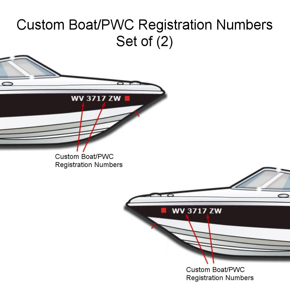 Amazon com custom made vinyl boat pwc boat registration numbers set of 2 3 x 22 arial sports outdoors