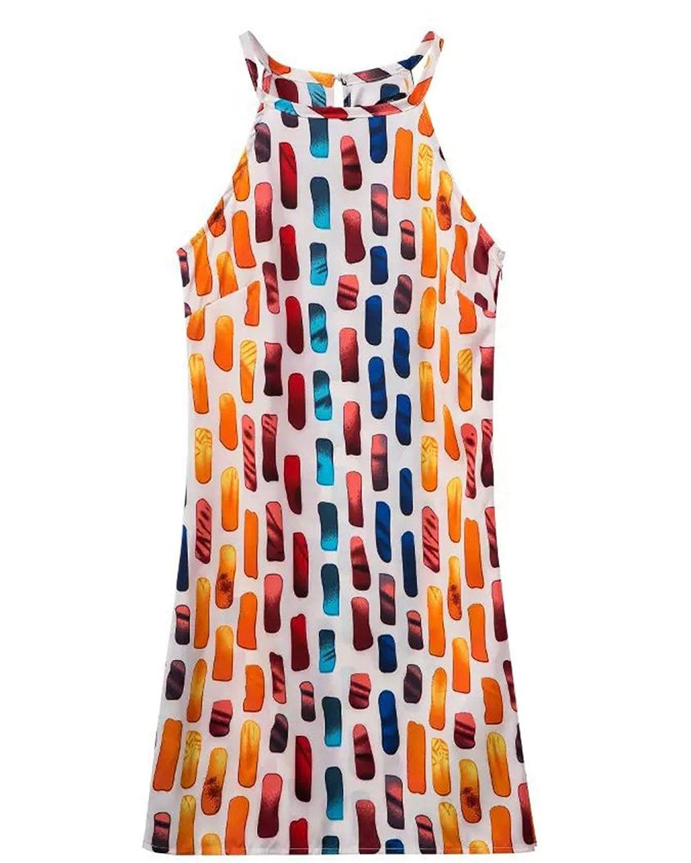 Molly Damen Neuer Stil Multi Farbe Drucken Harness Kleid