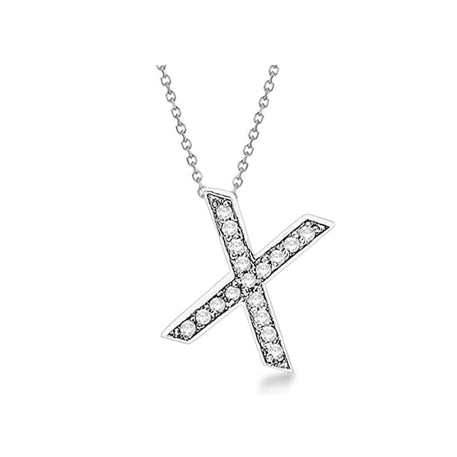 Gemhub Custom Tilted Diamond Block Letter Initial Necklace 14k White Gold Initial Personalized Pendant