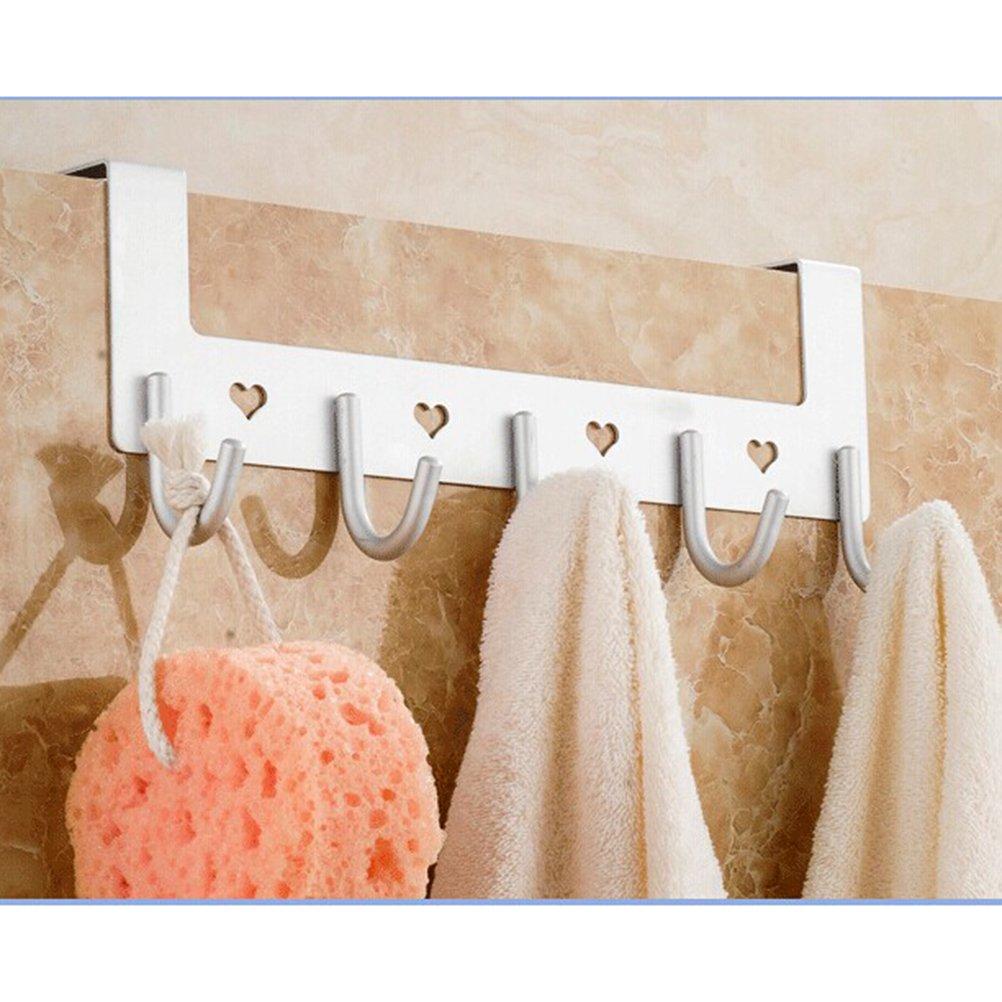OUNONA Porte-manteau de porte Motif en c/œur avec 5/crochets pour la cuisine chambre salle de bain
