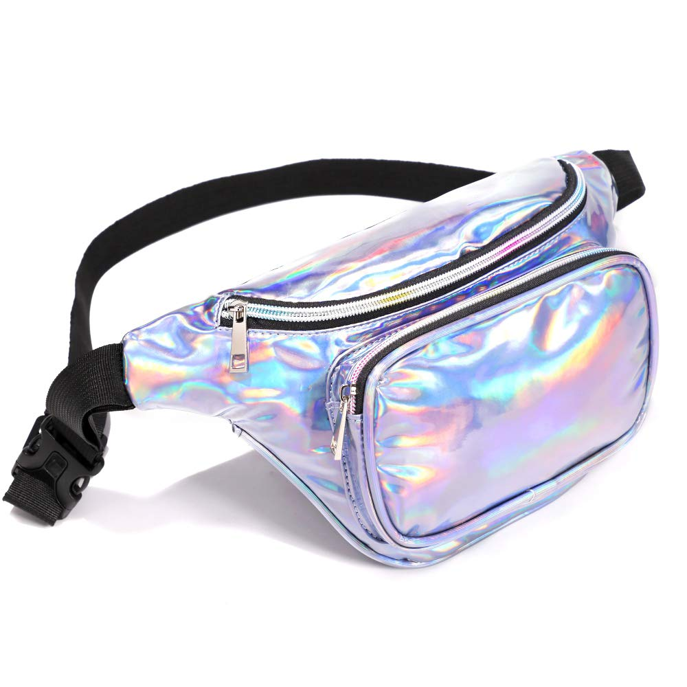 Packism Fanny Pack Waterproof Waist Pack Bag for Festival Travel Rave Party Belt Bag Neon Iridescent Hip Bum Bag Holographic Fanny Pack for Women Men