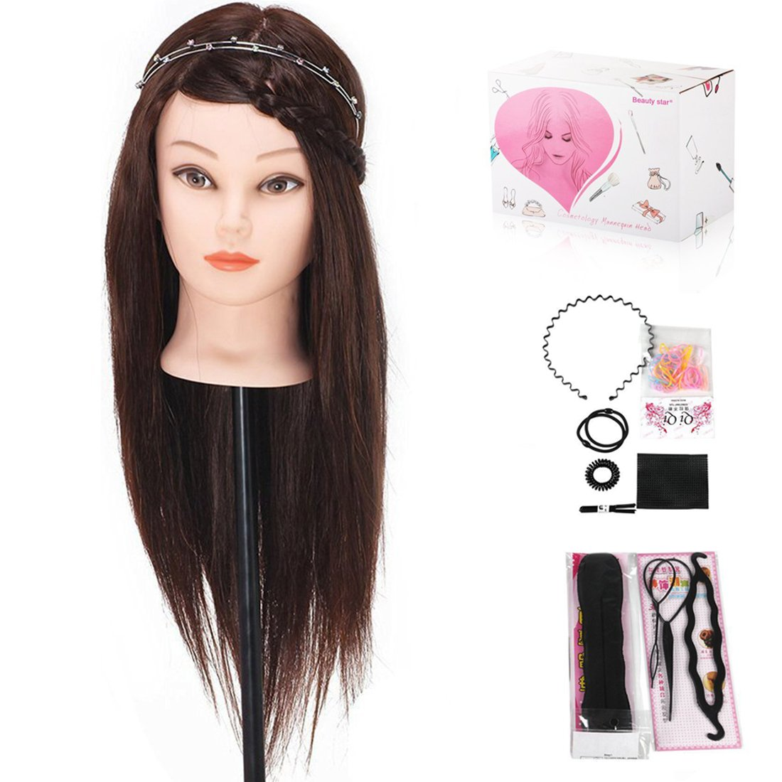 Mannequin Head, Beauty Star 18'' 30% Real Hair Hairdressing Training Head Cosmetology Manikin Head Hair Styling with Clamp and Some Practice Tools Beautystar