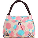 ZXKE Colorful Love Hearts and Candies Print Women Handbags Lunch Bag Tote (Pink Circles)