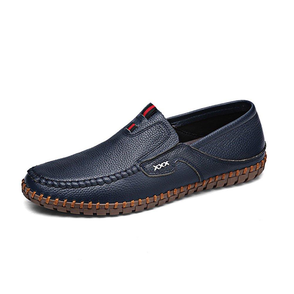 CAI Herren Schuhe Leder Faule Schuhe Sommer/Herbst Herren Loafers  SlipOns Schwarz/Blau/Lederschuhe/Comfort Loafers (Farbe : Blau  Größe : 38) Blau