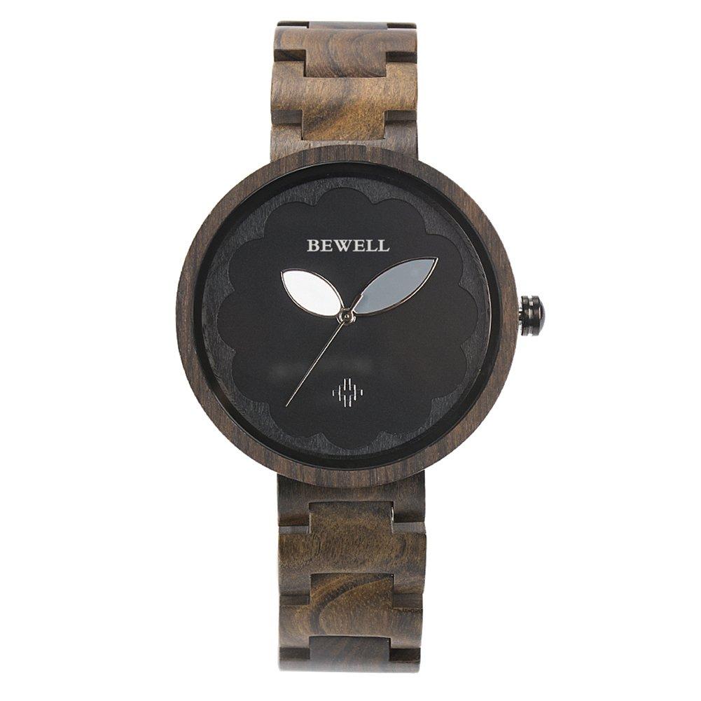 Ocamo Women Fashion Wood Quartz Wrist Watch Multifunctional Concise Style Watch Ebony color