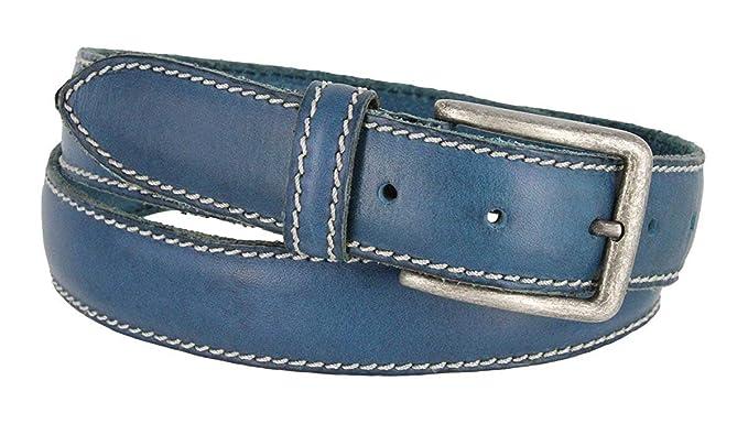 060087ae9278 Pele Belt Men 35 mm Wide Blue Italian Leather Stitched Rustic Nickel  Buckle