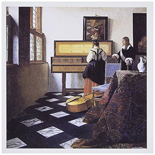 3dRose The Music Lesson, c. 1662 by Johannes Vermeer, Girl at the Piano - Greeting Cards, 6 x 6 inches, set of 12 (gc_175452_2) ()