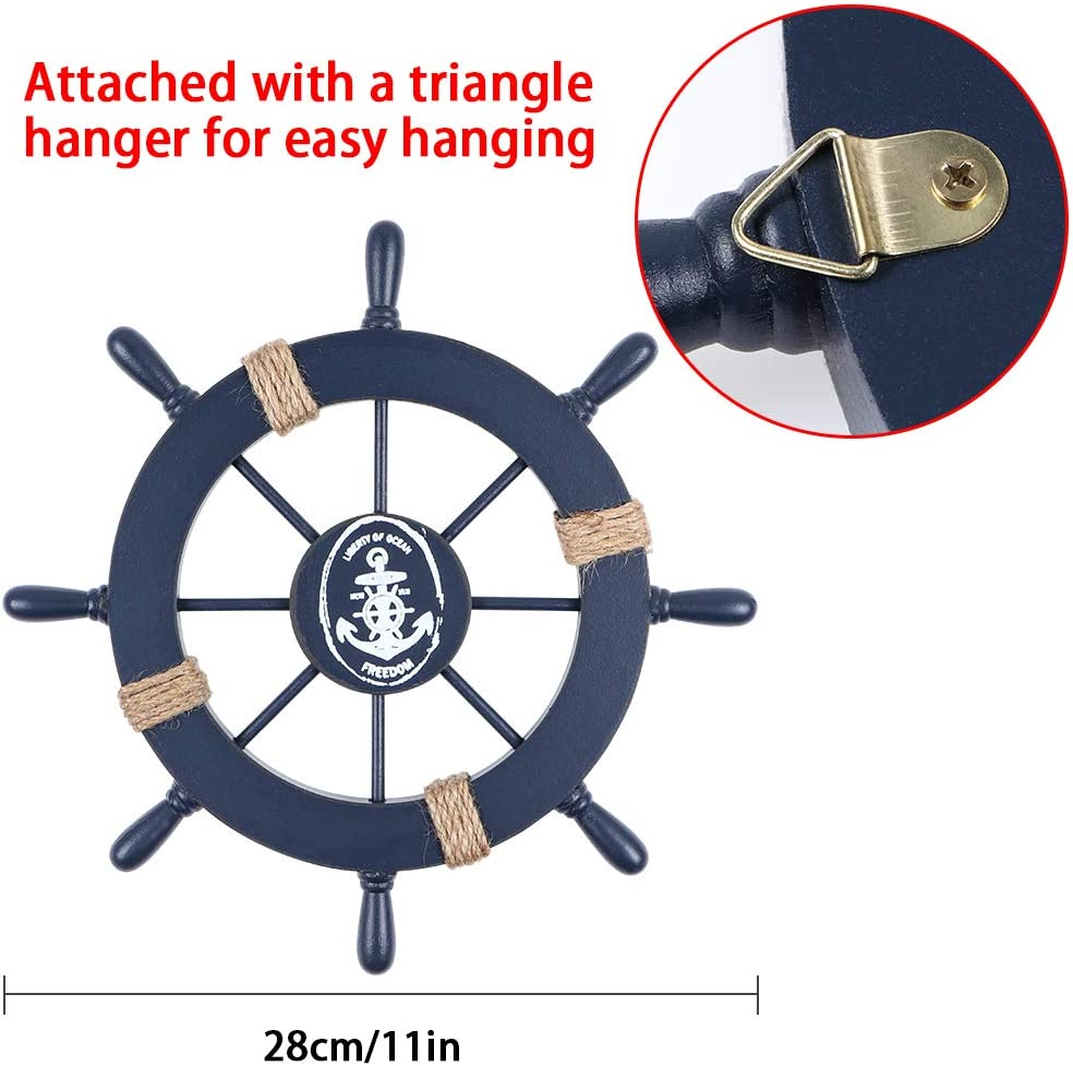 Navy Blue Pack of 2 MDLUU Wooden Ship Wheel 11 Ship Rudder Decor Wood Anchor Decor Party Decor 13 Anchor Wall Hanging Ornament for Mediterranean Nautical Room