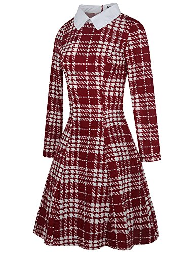 Line Houndstooth Red OX272 Dress Collar Turn Plaid Women's Plaid Casual Down Long Classic A oxiuly Sleeve OCPp81