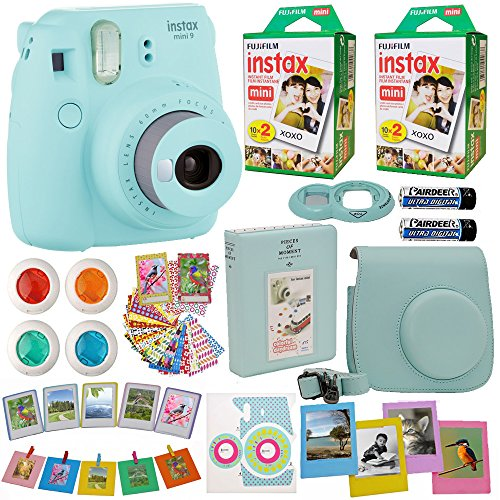 Fujifilm Instax Mini 9 Instant Camera + Fuji INSTAX Film (40 Sheets) Includes Camera Case + Frames + Photo Album + 4 Color Filters and More (Blue)