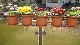 halterung f r 5 blument pfe blumentopfhalter balkon terrasse halter blumenst nder. Black Bedroom Furniture Sets. Home Design Ideas