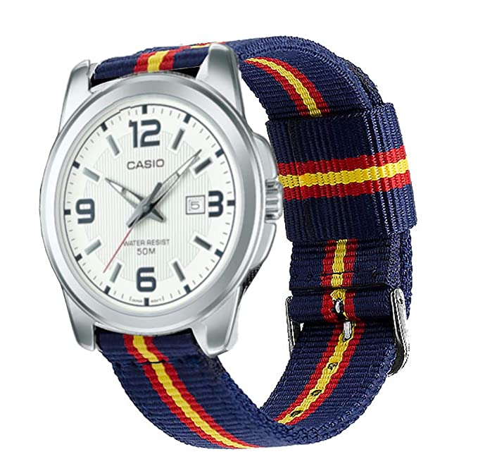 Estuyoya - Pulsera de Nailon Compatible con Relojes de Correa de 22mm Compatible con Casio, Diesel, Lotus, Samsung, Huawei Colores Bandera de España, ...