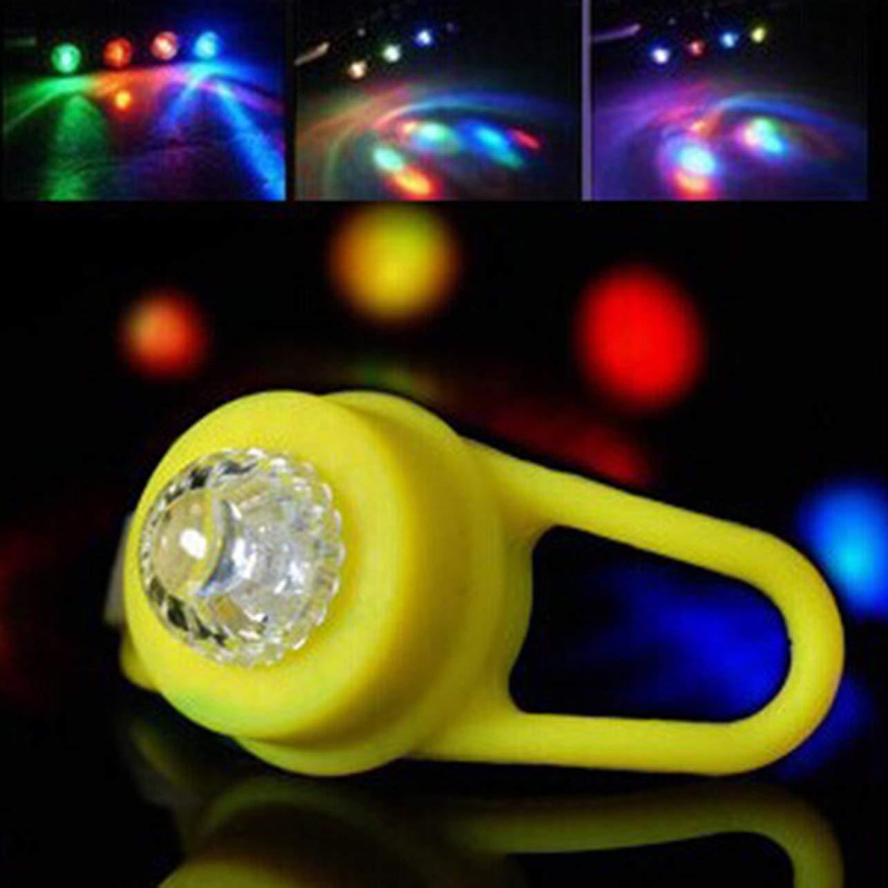WOSOSYEYO Bicicleta Luz de Advertencia Colorida Luz de Cola de Silicona Bicicleta Luces de Colores