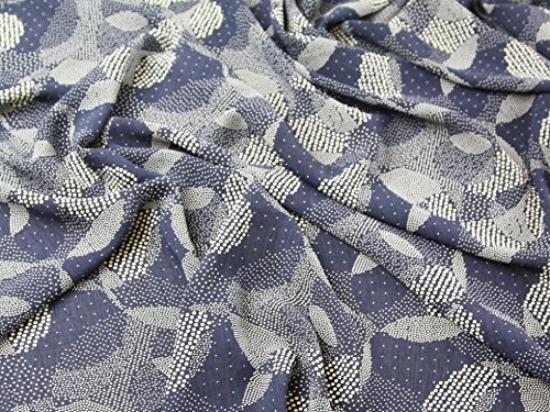 Spotty Spots Print Polyester Georgette Dress Fabric Navy Blue - per metre
