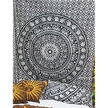Handicrunch 1 X Twin Mandala tapestry, Mandala wall hanging, tapestry wall hanging, bohemian tapestries, star mandala, elephant mandala, elephant tapestries, white black tapestries