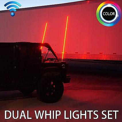 Dual Synced 3FT LED Whip Light w//Flag 30 Modes RGB Color Wireless for UTV RZR ATV