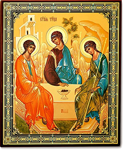 Wooden Gold Foil Russian Orthodox Holy Trinity Icon 15 7/8 Inch Foil Icon