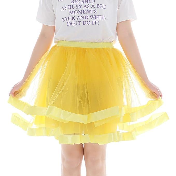 beautyjourney Falda de Baile de tutú para Mujer Falda Plisada hasta la Rodilla de Malla Falda Corta de Gasa Falda Retro Enagua Falda de Ballet: Amazon.es: ...