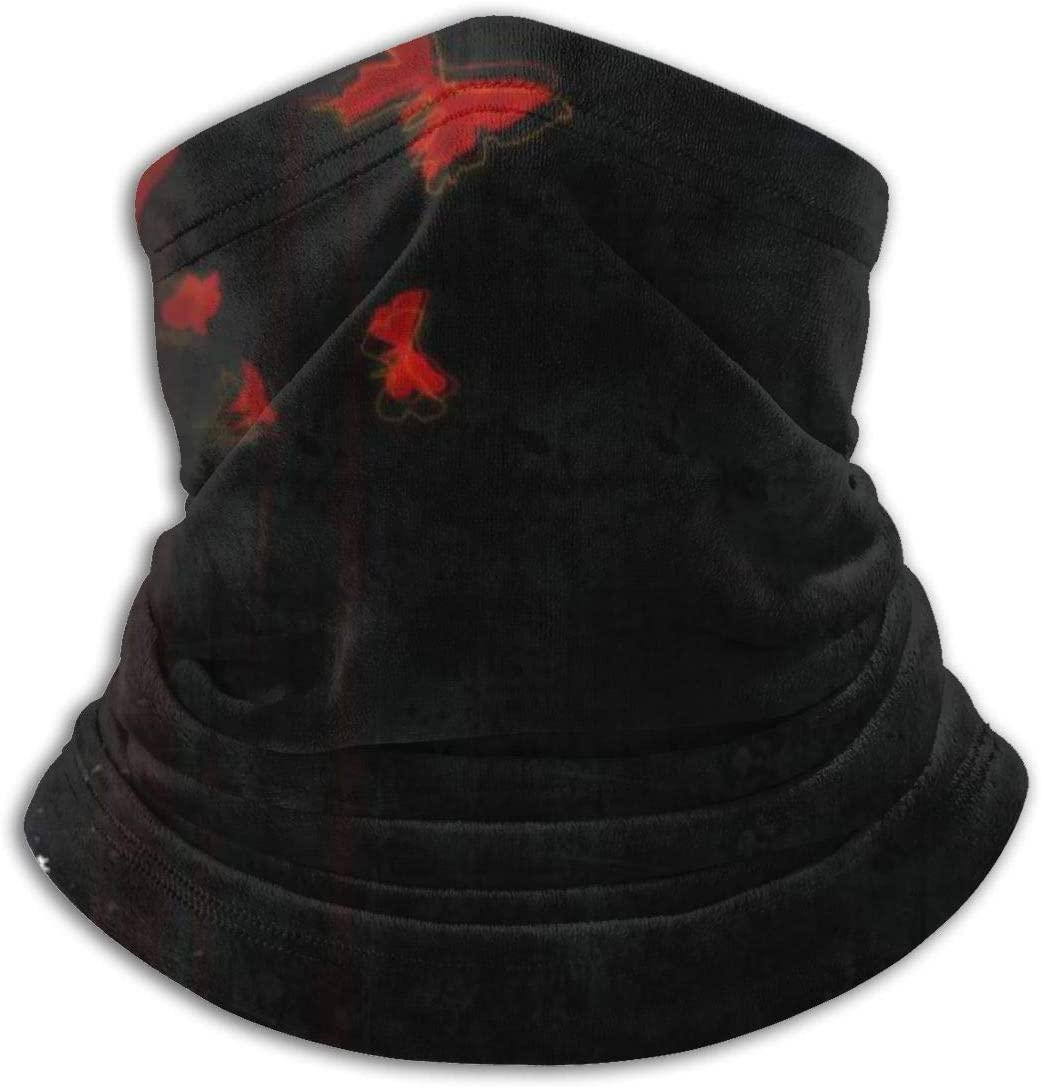 Red Blood Butterfly Dark Anime Black White Cute Anti Dust Face Mask Bandanas Mouth for Adults and Teens LBTD Beanie Cap