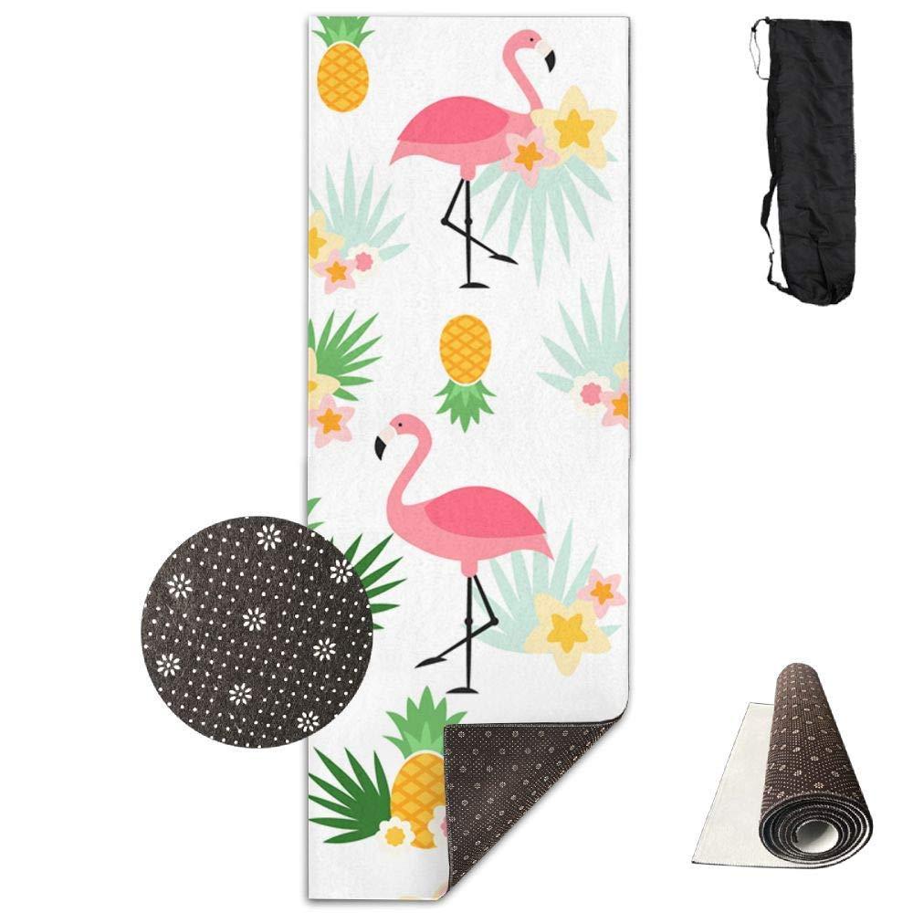 Amazon.com: Workout Mat for Yoga, Pineapple and Flamingo ...
