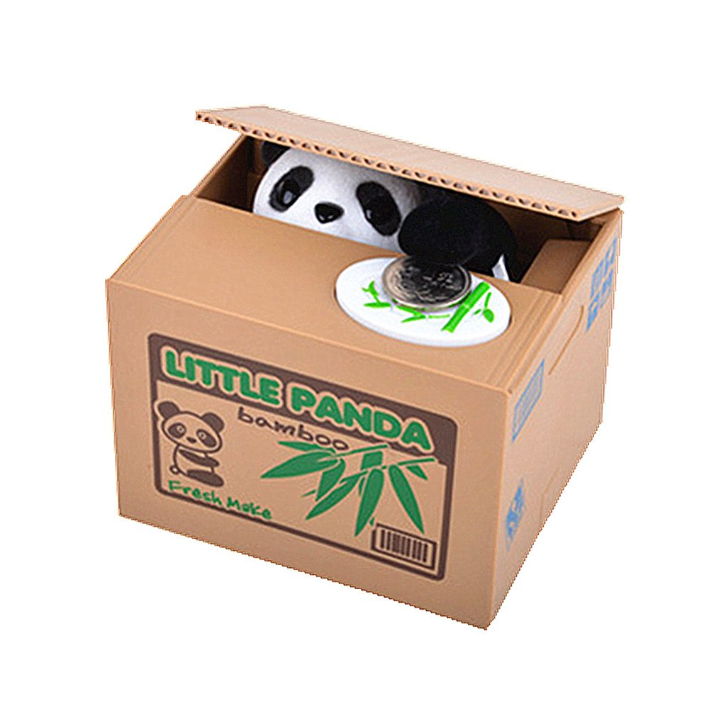 HuanX35 Saving Money Box,Vocal Mischief Stealing Coin Piggy Bank Coin Storage Pot(Cartoon Panda)