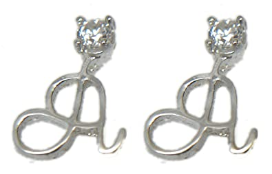 f0eb70930 925 Sterling silver Alphabet Initial Stud Letters Earrings Cubic Zirconia  (A)