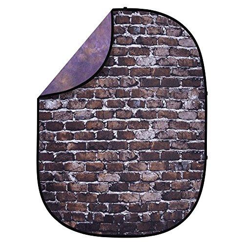 - Interfit PB406 Studio Essentials Collapsible - 5' x 6.5' Pop-Up Reversible Background - Grunge Muslin, Back Alley Brick/Dark Purple/Light Purple