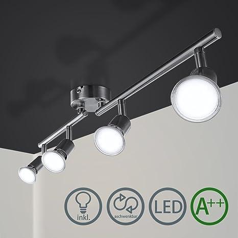 Barras de focos Gu10 4w Iluminación de luz plafon Foco direccional con 4 bombillas para bar