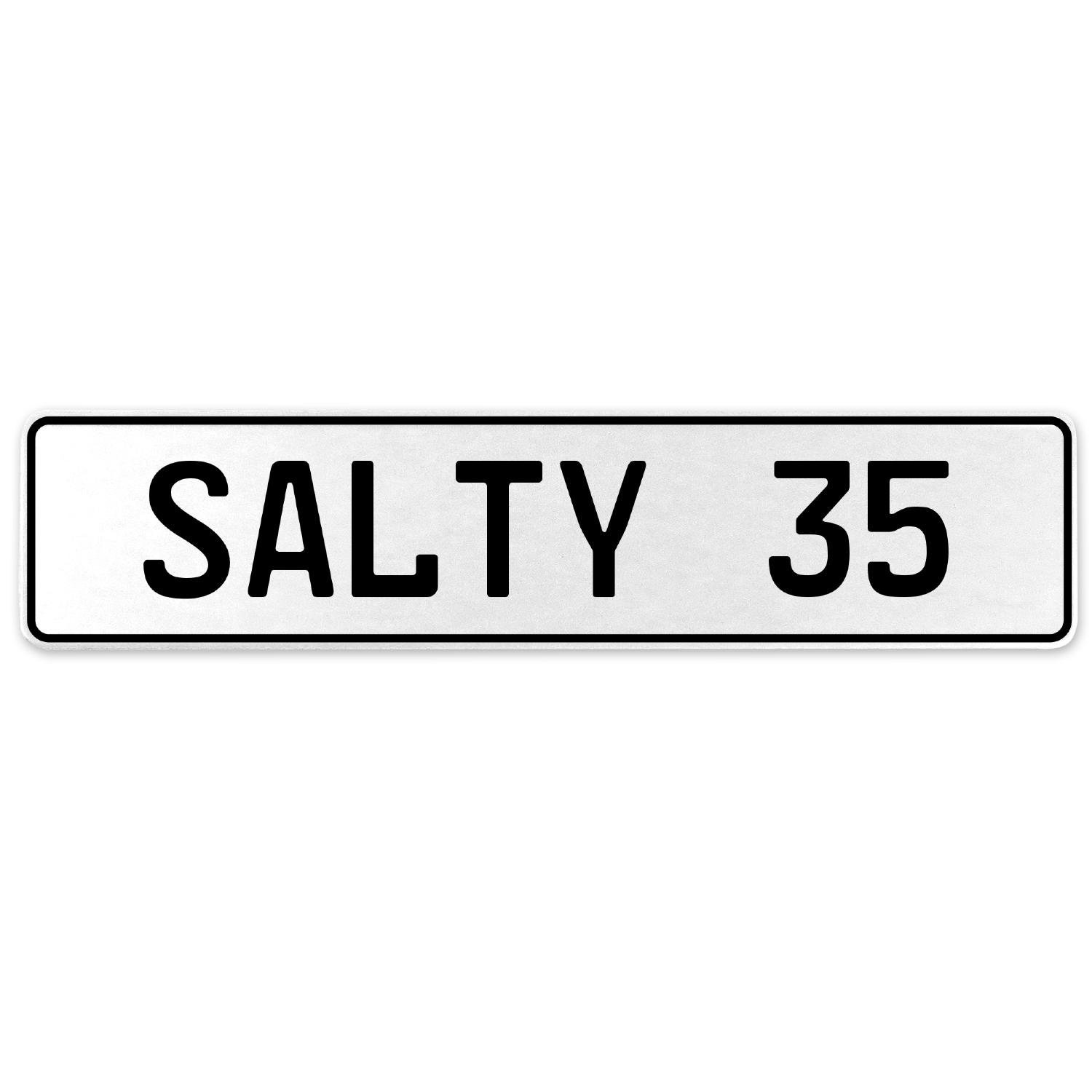 Vintage Parts 556711 Salty 35 White Stamped Aluminum European License Plate