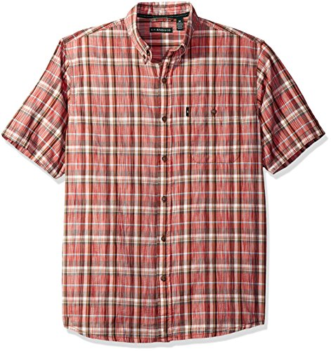 (G.H. Bass & Co. Men's Madawaska Spacedye Plaid Short Sleeve Shirt, Tandoori Spice, Small)