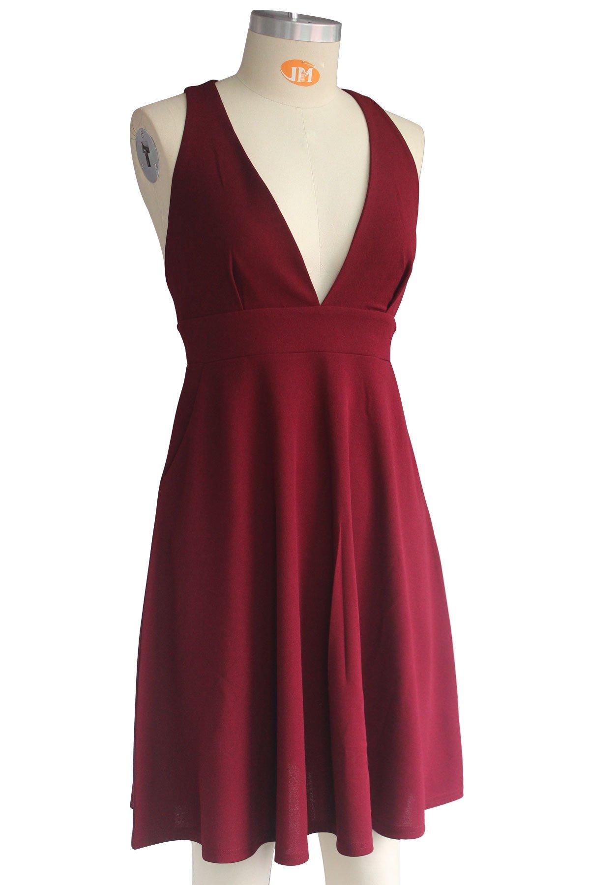 Summer Women's A-Line Sleeveless Deep V-Neck MIDI Dress (M, Burgandy) by YOOHOG (Image #5)
