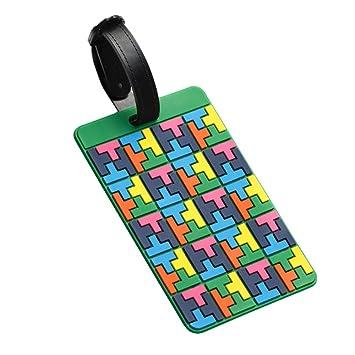 Viajes equipaje maleta etiquetas colores Tetris patrón de ...