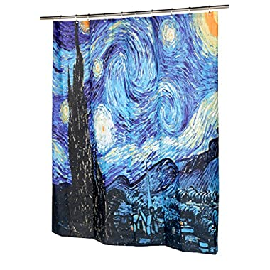 Carnation Home Fashions The Starry Night Fabric Shower Curtain, 72 L x 70 W