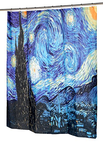 Carnation Home Fashions The Starry Night Fabric Shower Curtain, 72'L x 70'W