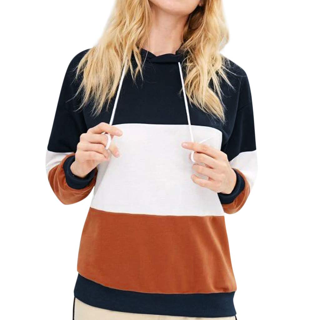 Redacel Women's Hoodies Sweatshirt, Fashion Stripe Stitching Casual Long Sleeve Top Blouse(XXL,Multicolor) by Redacel