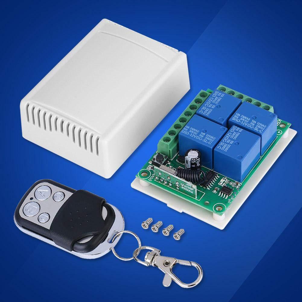 Nitrip DC12V 433MHZ Puertas de garaje inal/ámbricas Interruptor de control Tablero receptor con control remoto
