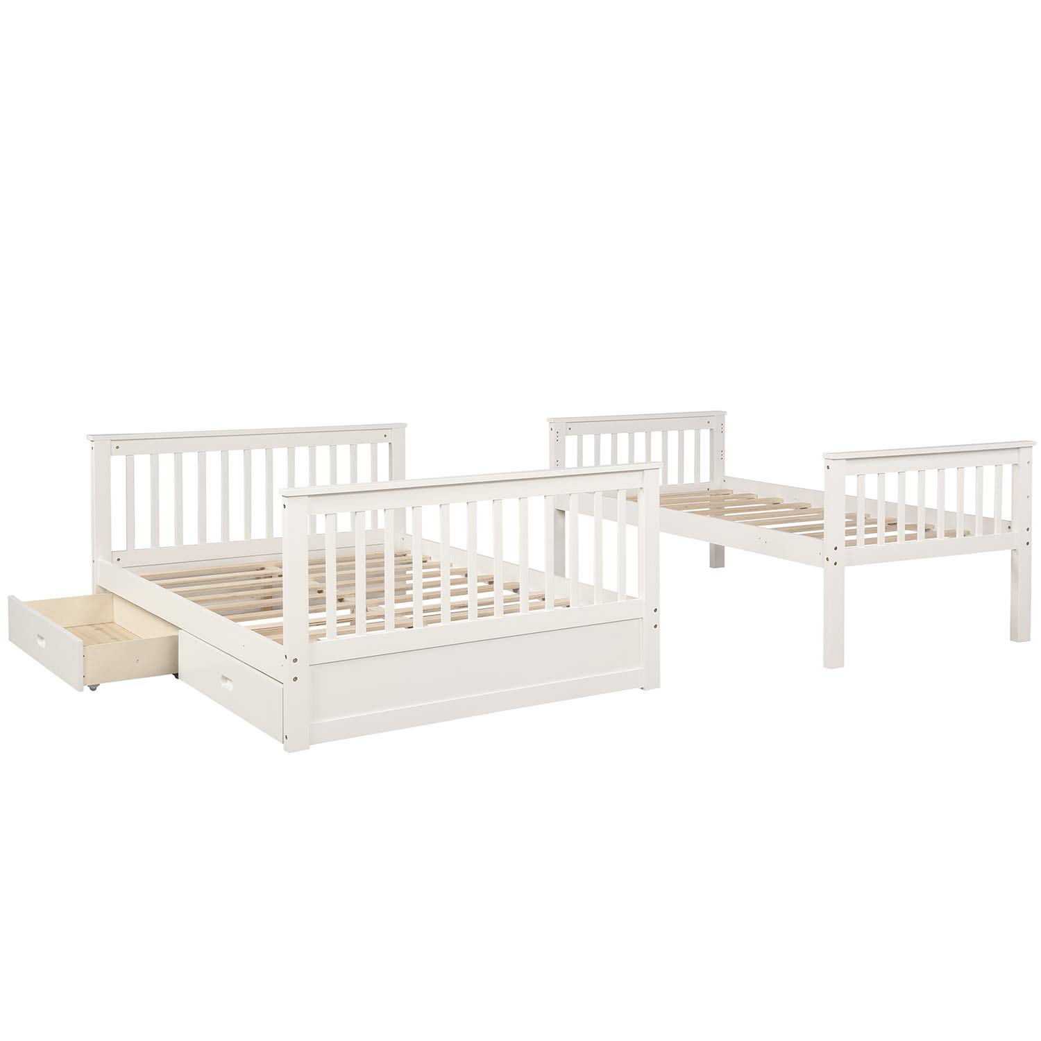 Twin-Over-Full Bunk Bed Solid Wood Bunk Bed with Ladders and Two Storage Drawers Espresso