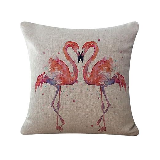 Xuxuou Simple Decorativo Funda de Cojín del Amortiguador Funda de Cojín Fresco Estilo Flamingo Impreso Sofá Oficina Decoración Cojín Cojín del Coche ...
