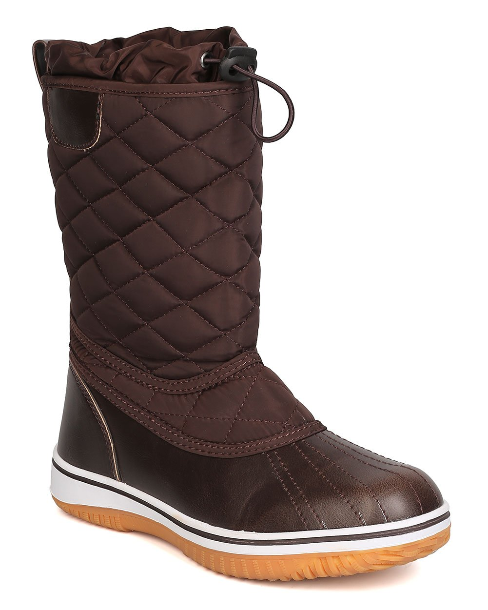 Refresh Women Mixed Media Quilted Drawstring Snow Boot GB12 B01N1SIIHV 7 M US|Brown