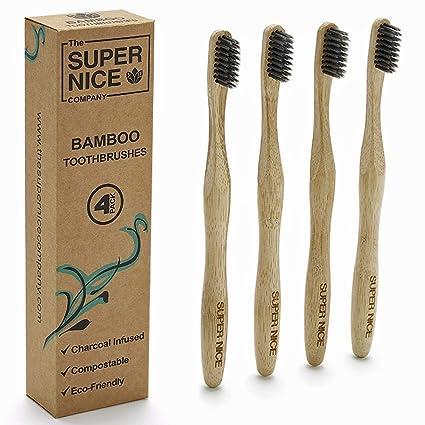 Cepillo de dientes de bambú con cerdas de carbón infundido por la Super Nice Company Eco