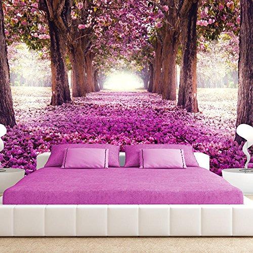 Vlies Fototapete 400x280 cm - 3 Farben zur Auswahl - Top - Tapete - Wandbilder XXL - Wandbild - Bild - Fototapeten - Tapeten - Wandtapete - Wand - Weg Blumen Bäume c-A-0031-a-d