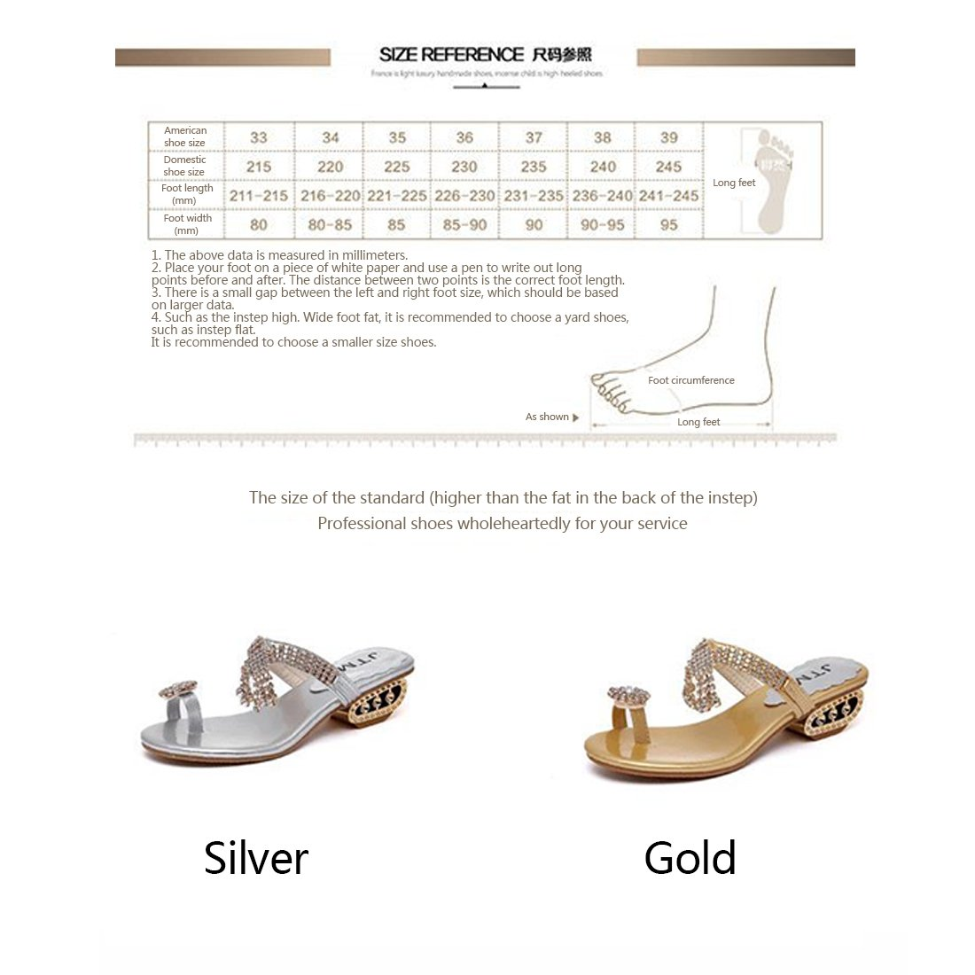 Niceful Summe Rhinestone Sandals for Woman Open Peep Toe Sandals with Square Low-Heeled Slippers WTX001